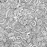 Cartoon hand-drawn doodles. On the subject of Africa style theme seamless pattern. Line art vector background Stock Images