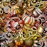 Cartoon doodles Autumn seamless pattern Stock Photos