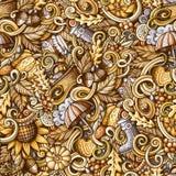 Cartoon doodles Autumn seamless pattern Royalty Free Stock Photos