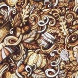 Cartoon doodles Autumn seamless pattern Stock Photography
