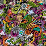 Cartoon hand-drawn doodles on the subject of Design seamless pattern Royalty Free Stock Image