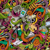 Cartoon hand-drawn doodles on the subject of Design seamless pattern Stock Photo