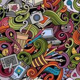 Cartoon hand-drawn doodles on the subject of Design seamless pattern Stock Image