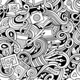 Cartoon hand-drawn doodles on the subject of Design seamless pattern Stock Images