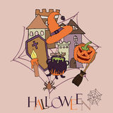 Cartoon  hand-drawn Doodles on the subject of Halloween symbols Colorful background with Pumpkin Ghost Scull Bones Bat Spider Royalty Free Stock Images