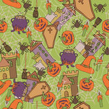 Cartoon  hand-drawn Doodles on the subject of Halloween symbols seamless pattern. Colorful background with Pumpkin Stock Photo