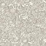Cartoon hand-drawn doodles on the subject Latin Stock Image