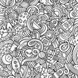 Cartoon hand-drawn doodles on the subject of space Stock Images