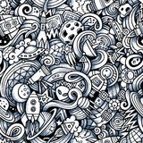 Cartoon hand-drawn doodles on the subject of space Royalty Free Stock Images