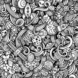 Cartoon hand-drawn doodles on the subject of space Royalty Free Stock Image