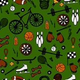 Cartoon hand-drawn doodles on the subject of sports style theme Royalty Free Stock Photo