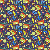 Cartoon hand-drawn doodles on the subject of summer holidays theme seamless pattern. Royalty Free Stock Photography