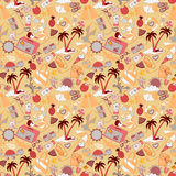 Cartoon hand-drawn doodles on the subject of summer holidays theme seamless pattern. Royalty Free Stock Image