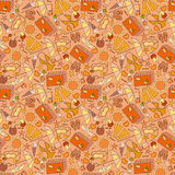 Cartoon hand-drawn doodles on the subject of summer holidays theme seamless pattern. Stock Photo