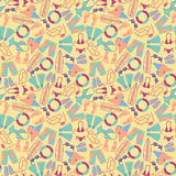 Cartoon hand-drawn doodles on the subject of summer holidays theme seamless pattern. Royalty Free Stock Photos