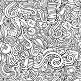 Cartoon hand-drawn doodles on the subject of tea Royalty Free Stock Photo