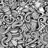 Cartoon hand-drawn doodles tea and coffee seamless pattern Stock Photo
