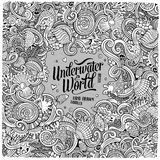 Cartoon hand-drawn doodles Underwater life illustration Royalty Free Stock Images