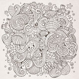 Cartoon hand-drawn doodles Underwater life illustration Stock Photo