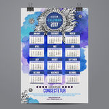 Cartoon hand drawn doodles 2017 year calendar Stock Photo