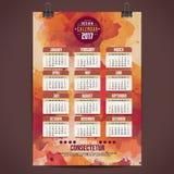 Cartoon hand drawn doodles 2017 year calendar Royalty Free Stock Image