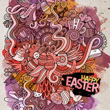 Cartoon hand-drawn Easter doodles watercolor art background Stock Photo