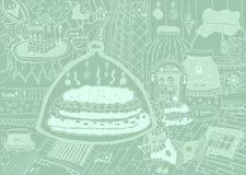 Cartoon hand-drawn flat doodles, line art. Cartoon hand-drawn doodles with funny sleeping cat and birthday cake, line art background, chaldish design Royalty Free Stock Image