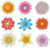 Cartoon Hand Drawn Flowers Royalty Free Stock Photography