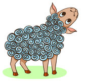 Cartoon hand-drawn happy sheep Stock Image