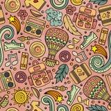 Cartoon vector hippie seamless pattern Royalty Free Stock Image