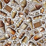 Cartoon hand-drawn ice cream doodles seamless pattern Stock Image