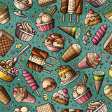Cartoon hand-drawn ice cream doodles seamless pattern. Colorful detailed, with lots of objects vector background Royalty Free Stock Photos