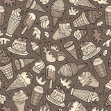 Cartoon hand-drawn ice cream doodles seamless pattern Royalty Free Stock Photos