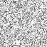 Cartoon hand-drawn ice cream doodles seamless pattern Stock Images