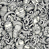 Cartoon hand drawn ice cream doodles seamless pattern Royalty Free Stock Images