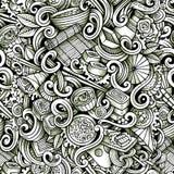 Cartoon hand drawn japanese food doodles seamless pattern Stock Image