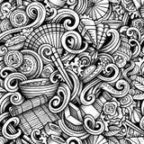 Cartoon hand drawn japanese food doodles seamless pattern Royalty Free Stock Photos