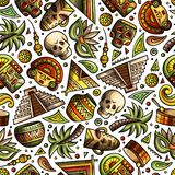 Cartoon hand-drawn latin american, mexican seamless pattern Stock Photography
