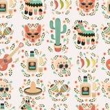 Cartoon hand-drawn latin american, mexican seamless pattern. Stock Photography