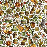 Cartoon hand-drawn latin american, mexican seamless pattern Royalty Free Stock Photography