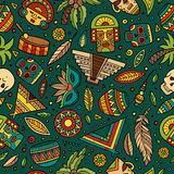 Cartoon hand-drawn latin american, mexican seamless pattern Royalty Free Stock Photos