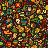 Cartoon hand-drawn latin american, mexican seamless pattern Stock Photo