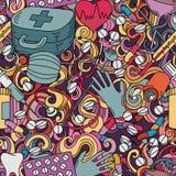 Cartoon hand-drawn medicine doodles seamless pattern. Royalty Free Stock Photo