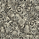 Cartoon hand drawn nautical doodles seamless pattern. Detailed g Royalty Free Stock Photos