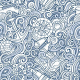 Cartoon hand-drawn nautical doodles seamless pattern Royalty Free Stock Photos