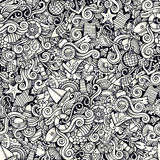 Cartoon hand drawn nautical marine doodles seamless pattern Royalty Free Stock Photo