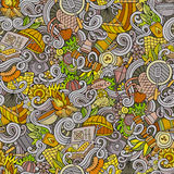 Cartoon hand-drawn picnic doodles seamless pattern Stock Images