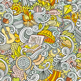 Cartoon hand-drawn picnic doodles seamless pattern Royalty Free Stock Image