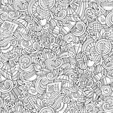Cartoon hand-drawn picnic doodles seamless pattern Stock Photos