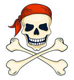 Cartoon hand-drawn pirate skull isolated on white Royalty Free Stock Photography